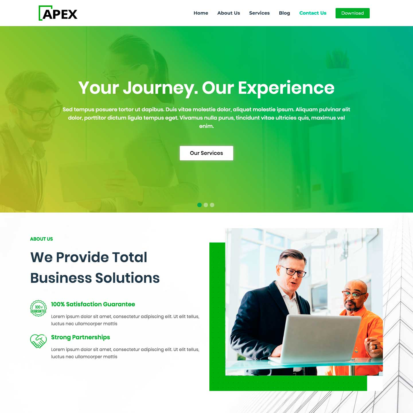 Apex Business, a free fully flexible Multi-Concept theme
